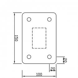 Sloupek pozinkovaný 60x40 mm s patkou, výška 100 cm