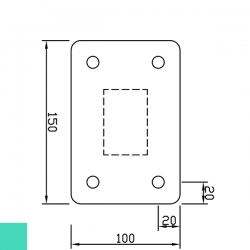 Sloupek poplastovaný 60x40 mm s patkou, výška 100 cm