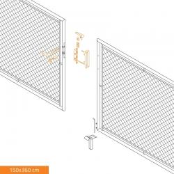 Brána dvoukřídlá zahradní 3600x1500 mm, se zámkem