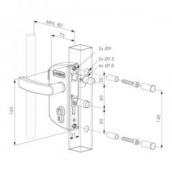 Zámek LAKZ 4040 P1L pro profil 40 mm